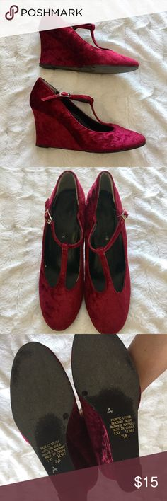 Velvet Wedges Mary Jane style, wedge, good condition, normal wear, no flaws, leather sole Newport News Shoes Wedges
