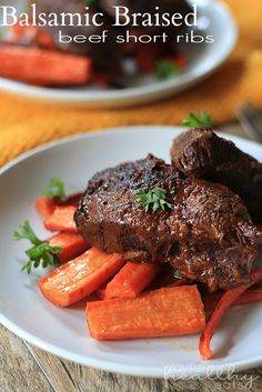 Slow Cooker Balsamic Braised Beef Short Ribs# slow cooker healthy recipes