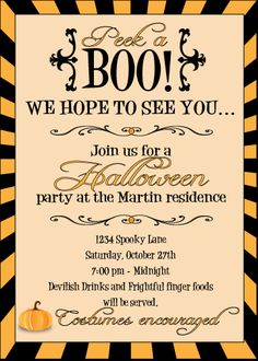 Halloween printable party invitation