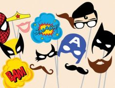 Superhero Photo booth Props, Superhero Photobooth Props baby shower, Superhero Props, Superhero birthday Party Photo Booth Props, download