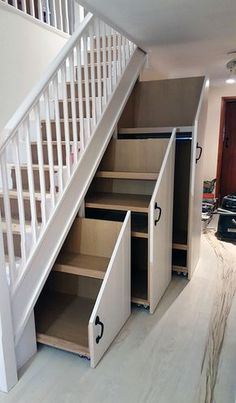 Home Stairs Design, Home Room Design, Home Interior Design, House Design, Interior Ideas, Staircase Storage, Storage Under Stairs, Desk Under Stairs, Living Room Under Stairs
