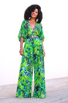 Style Pantry | Floral Bishop Sleeve Bodysuit + Floral High Waist Pants