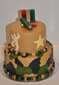 Camo birthday cake with browning symbol and gun shells
