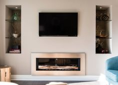 Valor Fireplaces, Linear Series in Metal, Natural Gas Fireplace, Linear Fireplace, Home Fireplace, Fireplace Inserts, Fireplace Design, Valor Fireplaces, Property Brothers, Basement, Master Bedroom