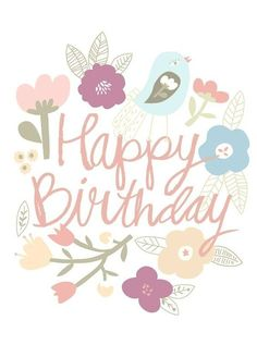 - Floral Bird Birthday Edible Image - A beautiful floral printed edible image for topping birthday cakes! - To use remove the image from the backing sheet. If your cake is dry, lightly mist. Happy Birthday Floral, Birthday Wishes Flowers, Happy Birthday Art, Birthday Wishes For Kids, Happy Birthday Wishes Cards, Happy Birthday Images, Birthday Messages, 1st Birthday Girls, Birthday Fun
