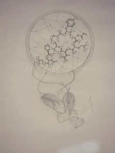 """Drawing by: Melissa Ferrier. """"Oxytocin molecule/ dreamcatcher tattoo. Personalized with the locket i gave my mother before she passed away"""""""