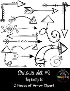 Arrows Set by Kelly Benefield Doodle Drawings, Easy Drawings, Doodle Art, Doodle Ideas, Handmade Journals, Handmade Books, Morse Code Words, Arrow Clipart, Arrow Art