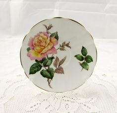 """Adderley Kasiaff Saucer, """"Peace"""" with Pink and Yellow Rose, Kasia Saucer, Saucer ONLY, No Tea Cup"""