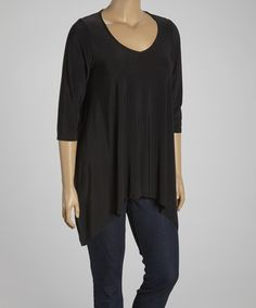 Black Sidetail Tunic - Women & Plus by Sole Dione $31.99 #zulily #zulilyfinds