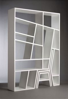 Bookshelf, desk, and chair--in one