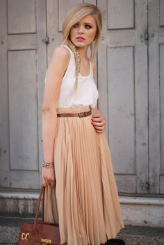 Blush pleated maxi, brown belt, loose linen tank. (Why does she look like she's in pain?)