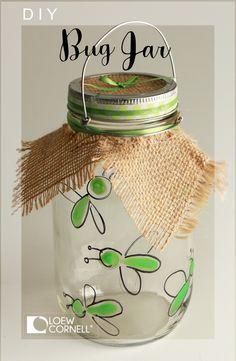 Make this super cute diy craft idea with a little glow paint, burlap and a Transform Mason handle. Makes a terrific bug catcher jar!