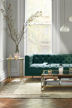 Shop the Leavenworth Marble Coffee Table and more Anthropologie at Anthropologie today. Living Room Green, Boho Living Room, Formal Living Rooms, Living Room Modern, Living Room Decor, Green Living Room Furniture, Modern Sofa, Living Spaces, Interior Design Living Room