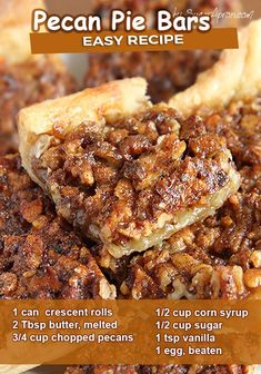 Pecan Desserts, Holiday Desserts, Easy Desserts, Delicious Desserts, Yummy Food, Desserts With Pecans, Recipes With Pecans, Quick Dessert Recipes, Easy Sweets