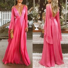 Retro Dresses Sexy Deep V Collar Long-Sleeved Long Expansion Vacation Dress – Aqilabuy - Prom Dresses 2018, Evening Dresses, Formal Dresses, Vacation Dresses, Ladies Dress Design, Beautiful Dresses, Vintage Outfits, Party Dress, Dress Up