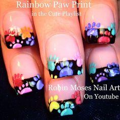 #rainbownails #pawprints in the #animalprint playlist on #youtube at #robinmosesnailart