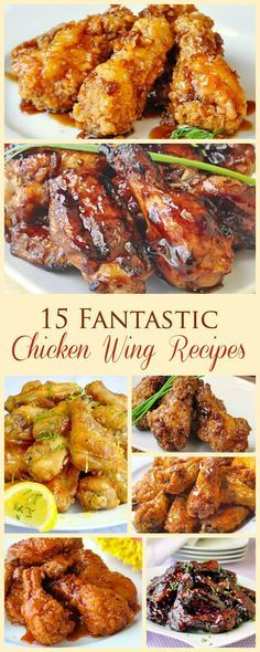 15 Fantastic Chicken Wing Recipes - baked, grilled or fried! From classic Honey Garlic to Blueberry Barbecue or Baked Kung Pao, find your fave wings here. Great for Superbowl Sunday. Cooking Chicken Wings, How To Cook Chicken, Tandoori Chicken, Ethnic Recipes, Food, Eten, Hoods, Meals