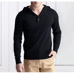 Autumn Mens Casual Knit Hooded V-neck Pullover Bottoming Solid Color Hedging Long-sleeved Sweater at Banggood