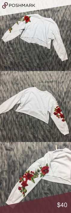 Strike a Rose Crop Tee New | Boutique brand | 95% cotton 5% spandex | True to size | LF Tops Tees - Long Sleeve