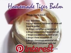 Hot Tiger Balm includes a blend of special oils and herbs that relieves pain by helping increase the blood circulation. Such oils as camphor and. Clove Essential Oil, Cinnamon Essential Oil, Eucalyptus Essential Oil, Essential Oil Blends, Salve Recipes, Tiger Balm, Homemade Beauty Products, Natural Products, Natural Medicine