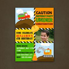 Printable Boys Construction Trucks Birthday by PinkSkyPrintables, $12.00