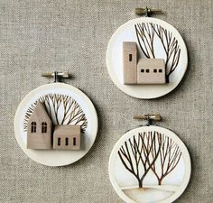 embroidery hoop art landscape tree original art -
