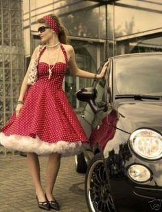 50er-Jahre-Punkte-Kleid-Rockabilly-Petticoat-Dots