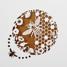 Honey Bee papercut by my wife (hand drawn, hand cut)