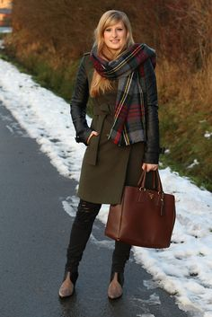 1 grüner Mantel Lederelemente Modeblog Outfit Wintermantel braune Prada Tasche Winterlook