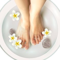 Buy Pedicure Spa Illustration by macrovector on GraphicRiver. Pedicure spa female feet in spa bowl with water flowers and stones realistic vector illustration. Editable EPS and Re. Spa Pedicure, Pedicure At Home, Avril Bio, Flower Texture, Floral Save The Dates, Exfoliant, Water Flowers, Female Feet, Fragrance Parfum