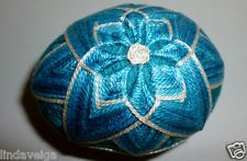 Temari Eggs made of Shades of Graduated Blues over a Turquoise Base