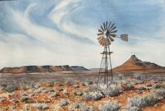 Barbara Philip - African Painting Dry karoo landscape with windmill Canvas Painting Projects, Painting Trees, Acrylic Paintings, Windmill Art, Black And White Art Drawing, African Paintings, School Painting, Country Paintings, Art Walk