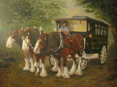'/the Twilight Run' : This is an original acrylic painting on a Canvas Panel. It was inspired by one of my photographs of the Clydesdale Restaurant in Windsor NSW. The Clydesdale horses drawing the mobile restaurant are Banjo, Harry and Charlie. (c) Janet M Baker