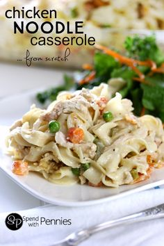 Made this for dinner tonight.This Creamy Chicken Noodle Casserole is made from scratch! Easy & cheesy it's quick to make loaded up with veggies (not salt) & it tastes amazing too! Chicken Noodle Casserole, Casserole Dishes, Casserole Recipes, Broccoli Casserole, Paula Deen, Pasta Dishes, Food Dishes, Main Dishes, Quinoa