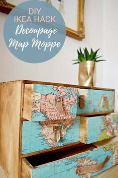 For those with wanderlust a fantastic transformation of an IKEA Moppe. Decoupaged with a vintage world map & leather drawer pulls for this elegant hack.