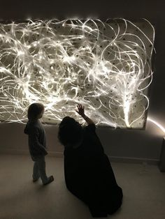 The thin fibre optics of LIGHT\TRACE No. 1 are embedded in hand-made paper and gilded. The light installation creates a stunning atmosphere in the room.  www.ATARA-design.com  #ATARAdesign #lighttrace #lightobject #lightsculpture #lightinstallation #ATARAdesign