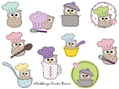 Koch Eule Ursula doodle Stickdateien Set. Doodle kitchen owl appliqué embroidery designs for embroidery machines.  #Küche #cook #essen #sticken #eulenliebe