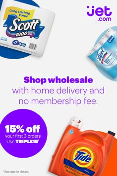 Shop wholesale with home delivery and no membership fee at Jet.com. Get 15% off your first 3 orders using code TRIPLE15*. Plus, enjoy 2-day delivery on thousands of everyday essentials.