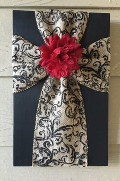 Tan and Black Swirl Burlap Cross with a Red Flower by TheBurlapCross1 on Etsy https://www.etsy.com/listing/266591739/tan-and-black-swirl-burlap-cross-with-a