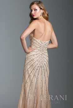 Terani Couture 2013 Nude Strapless Sweetheart Sequin Beaded Long Prom Dress with Slit 1524 | Promgirl.net