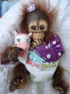 OOAK Reborn Monkey Orangutan Baby Girl Art Doll Primate Ape Original | eBay