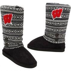 Wisconsin Badgers Ladies Retro Boots - Black/White