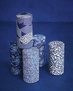 Washi paper covered tea containers