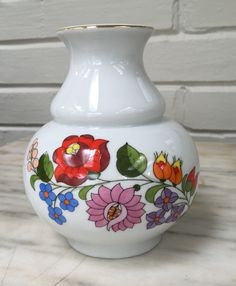 "vintage Kalocsa floral vase, Hungarian china, colorful handpainted, numbered, gilt rim 5.5"" tall, by MotherMuse on Etsy"