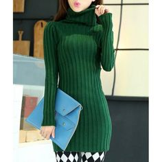 Simple Turtle Neck Long Sleeve Solid Color Bodycon Sweater For Women