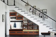 California Closets - under the stairs built-ins Stair Shelves, Staircase Storage, Entryway Storage, Stair Storage, Staircase Design, Stair Design, Ceiling Storage, California Closets, Space Under Stairs