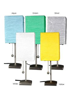 Give your home a fun, modern update with a charming contemporary accent table lamp. This high quality 17-inch table lamp has a sturdy metal base with a unique rice paper shade that comes in a variety of exciting color choices to match your style.
