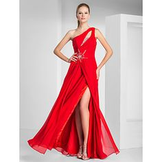 Formal Evening/Prom/Military Ball Dress - Ruby Plus Sizes Sheath/Column One Shoulder Floor-length Chiffon – USD $ 99.99