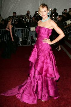 """Cameron Diaz in Christian Dior Couture at the 2007 Met Gala: """"This is the epitome of Cameron's approach to couture; a hot pink, asymmetrical, tiered ball gown...the hot pink and turquoise together is just so much fun."""""""