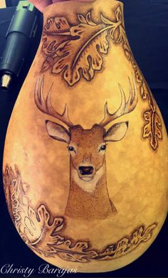 Tooled Leather Inspired Pyrography, Woodburned Gourd by Christy Barajas